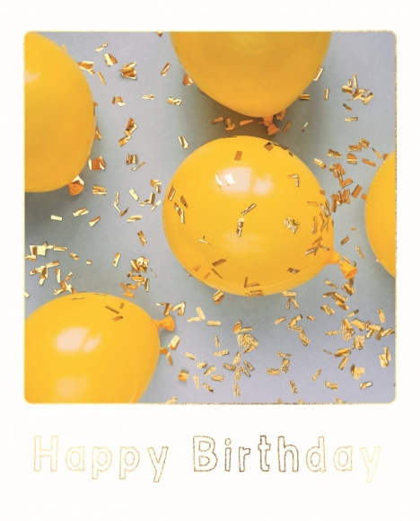 Postkarte: gelbe Luftballons - Happy Birthday