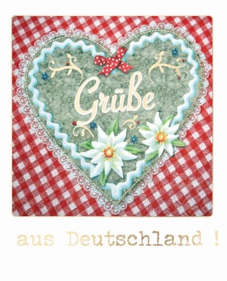 Postkarte: Grüße aus Deutschland - Filzherz