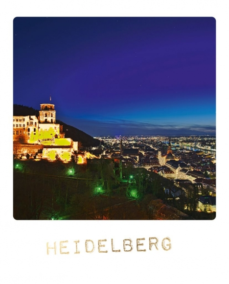 Postkarte: Heidelberg bei Nacht