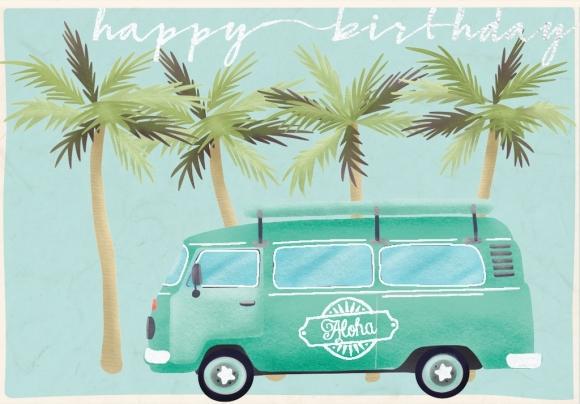 Doppelkarte: Transp. mit Palmen happy birthday