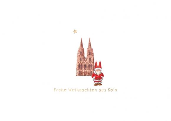 Postkarte: 2 Weihnachtsmützen - Frohe Weihnachten aus Köln