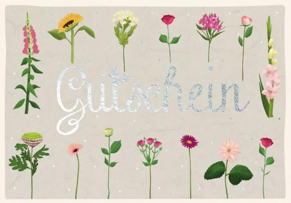 Doppelkarte: Gutschein mit Blumen.