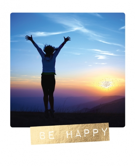 Postkarte: Be happy - Freudensprung