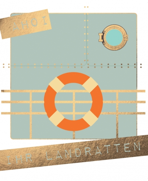 Postkarte: Ahoi ihr Landratten