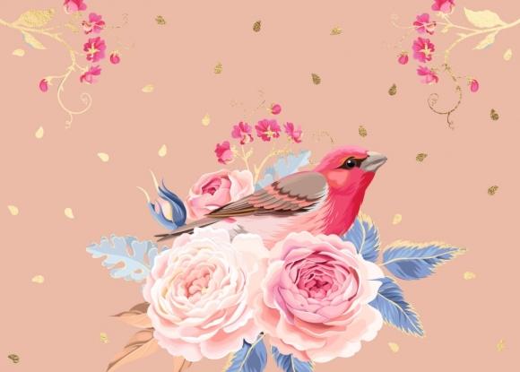 Postkarte: Rosen mit rotem Vogel