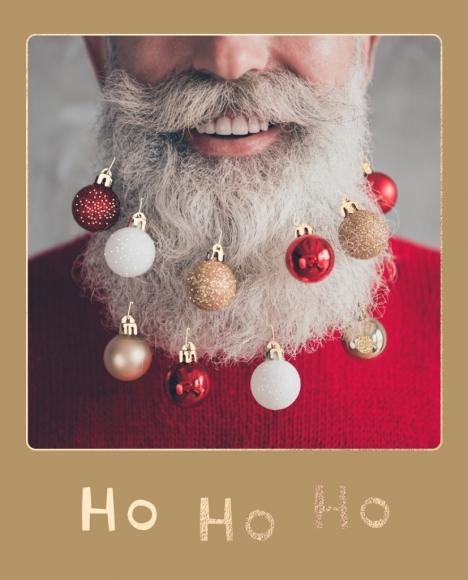 Postkarte: Bart mit Kugeln - Ho Ho Ho