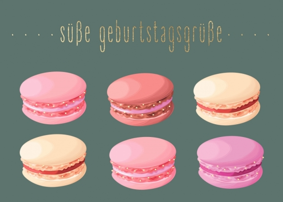 Postkarte: Macarons - Süße Geburtstagsgrüße