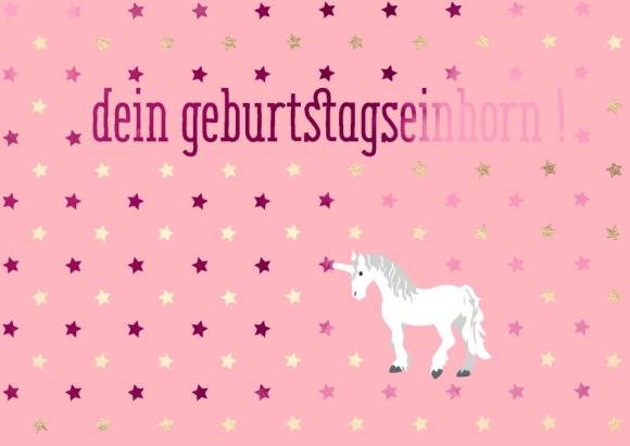 Postkarte: Dein Geburtstagseinhorn