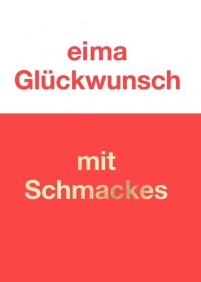 Postkarte: eima Glückwunsch mit Schmackes