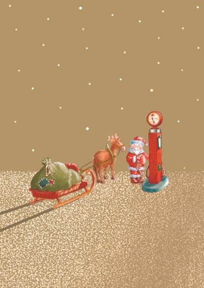 Doppelkarte: Weihnachtsmann und Rentier an Zapfsäule