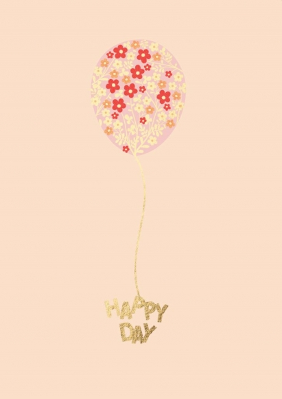 Postkarte: Happy Day - Blumenballon