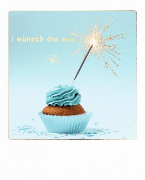 Postkarte: I wünsch dia wos. Cupcake mit Wunderkerze.