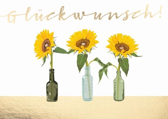 Postkarte: Glückwunsch - Sonnenblumen