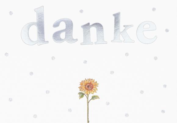 Postkarte: Danke - Sonnenblume
