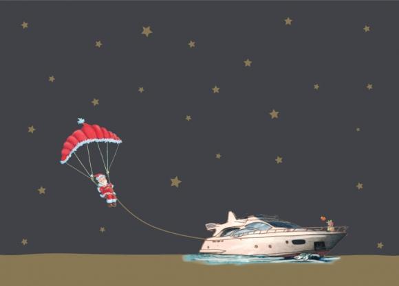 Postkarte: Kite-Weihnachtsmann
