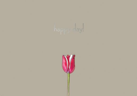 Postkarte: happy day! - Tulpe zum Ausklappen