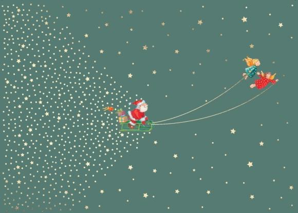 Postkarte: Weihnachtsmann auf einem Schlitten von Engeln gezogen