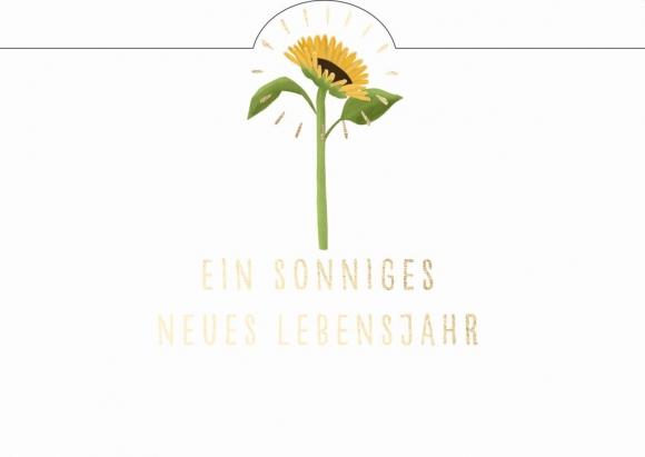 Postkarte: Ein sonniges neues Lebensjahr. Sonnenblume.