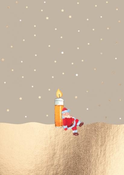 Postkarte: Weihnachtsmann mit Kölsch-Kerze