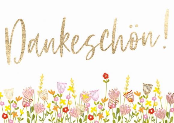 Mini-Doppelkarte: Dankeschön! Blumen