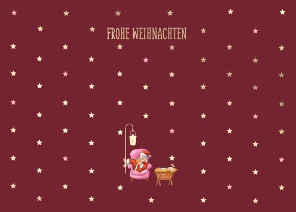 Postkarte: Frohe Weihnachten - Weihnachtsmann im Sessel