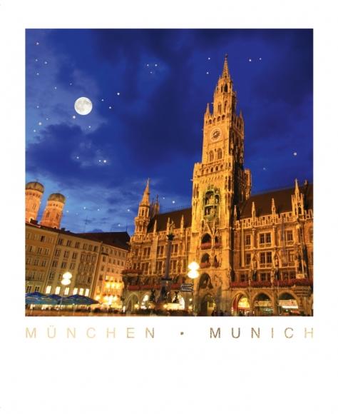 Postkarte: München - Munich- Marienplatz mit Rathaus