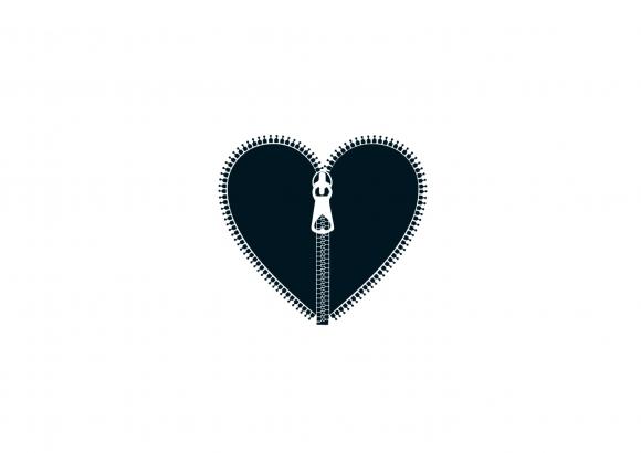 Postkarte: Reißverschluss-Herz