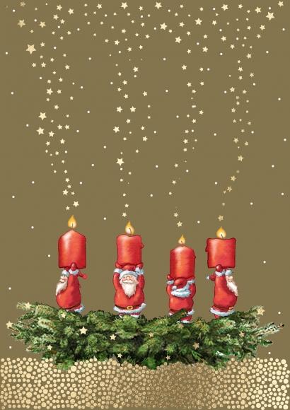 Postkarte: Kranz mit Weihnachtsmännerkerzen