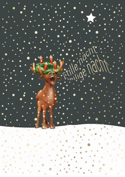 Postkarte: Elch mit Adventskranz