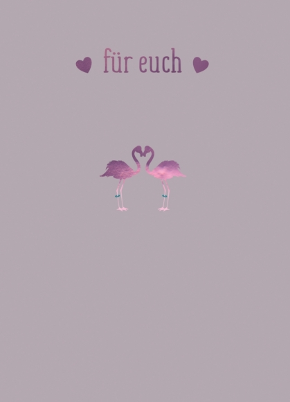 Doppelkarte: Für Euch - Zwei Flamingos