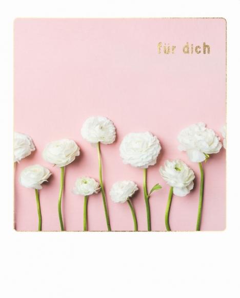 Doppelkarte: Für dich - weiße Blume.