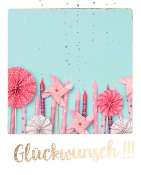 Doppelkarte: Glückwunsch!!! Rosa Kerzen und Windrädchen