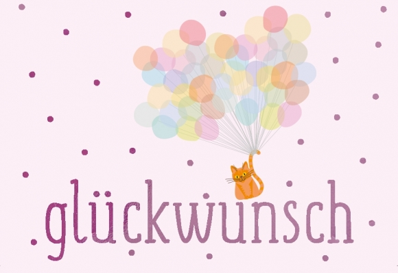 Mini-Doppelkarte: Glückwunsch - Katze mit Luftballons