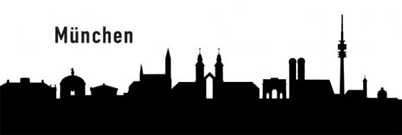 Autoaufkleber München Skyline schwarz