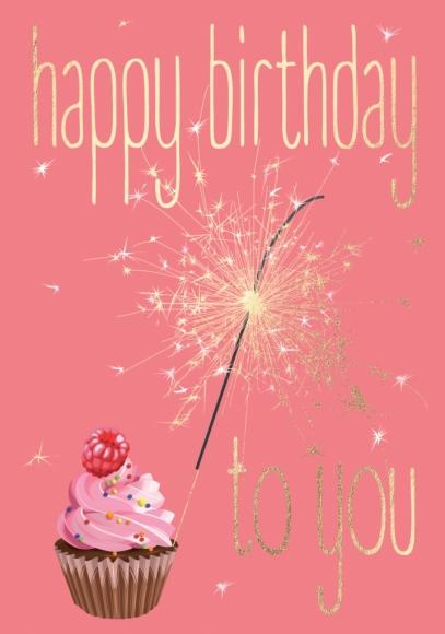 Doppelkarte: Happy Birthday to You - Muffin und Wunderkerze