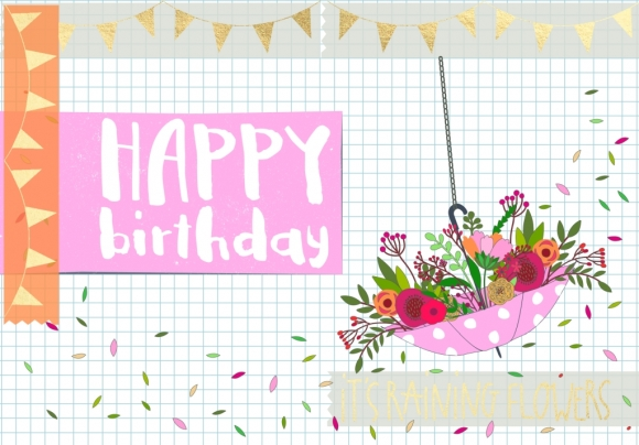 Postkarte: Happy Birthday - It' s raining flowers