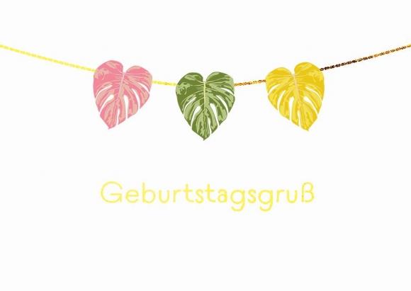 Doppelkarte: Geburtstagsgruß - 3 bunte Blätter