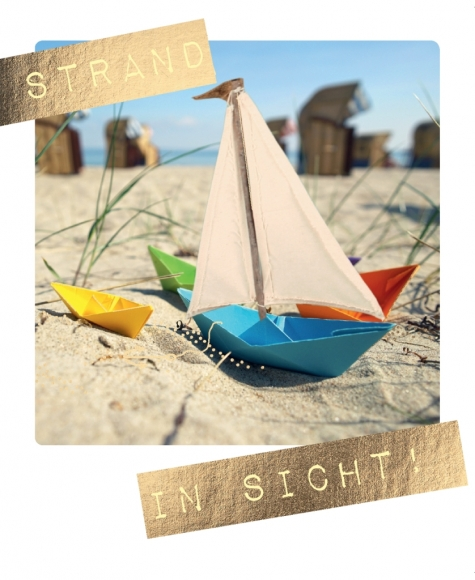 Postkarte: Strand in Sicht