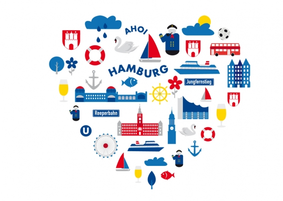 Postkarte: Ahoi Hamburg