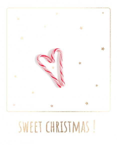 Postkarte: Herz aus Zuckerstangen - Sweet Christmas