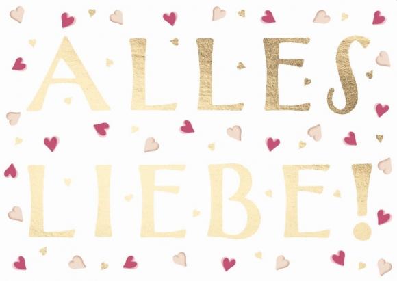 Postkarte: Alles Liebe - Herzen