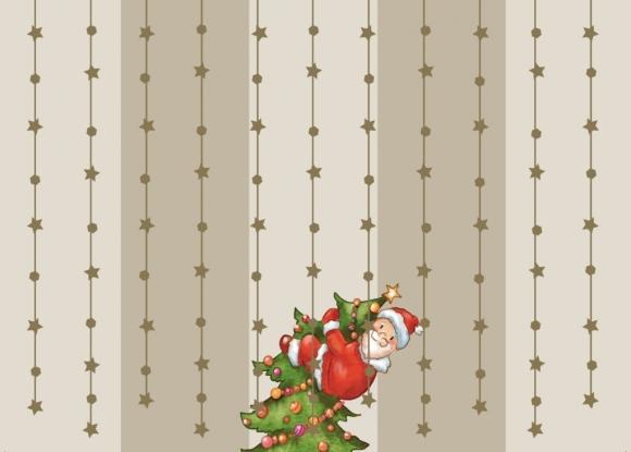 Postkarte: Weihnachtsmann am Tannenbaum hängend