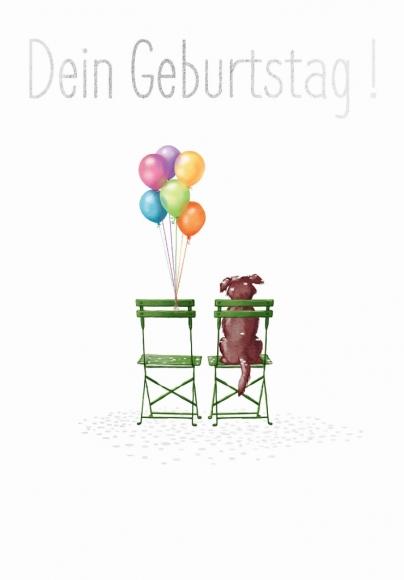 Doppelkarte: Dein Geburtstag - 2 Stühle, Hund und Ballons