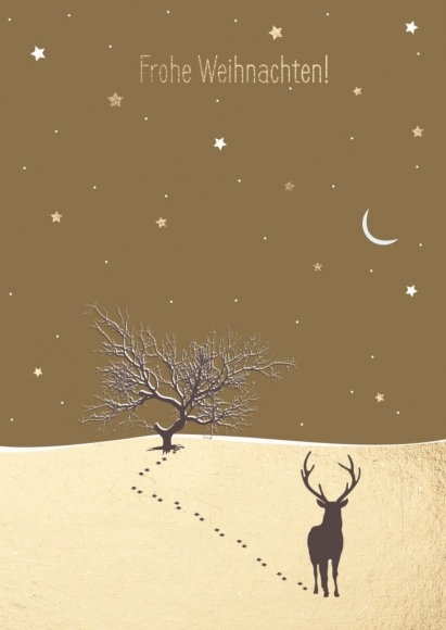 Doppelkarte: Frohe Weihnachten - Elch in Schneelandschaft