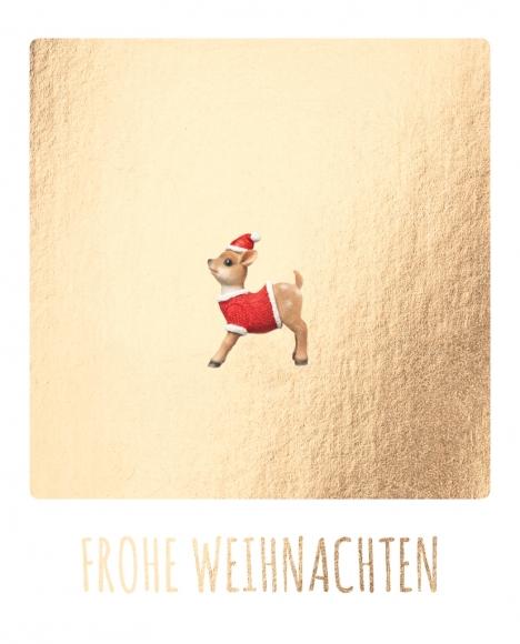 Postkarte: Frohe Weihnachten - Rehkitz