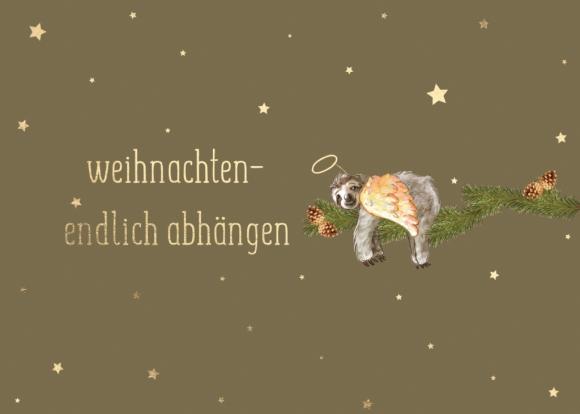 Postkarte: Weihnachten - endlich abhängen. Faultier.