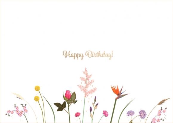 Postkarte: happy birthday Blumen-Mix