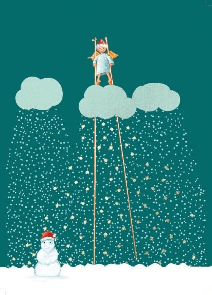 Postkarte: Engel auf Stelzen