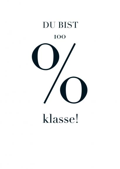 Postkarte: Du bist 100% klasse!