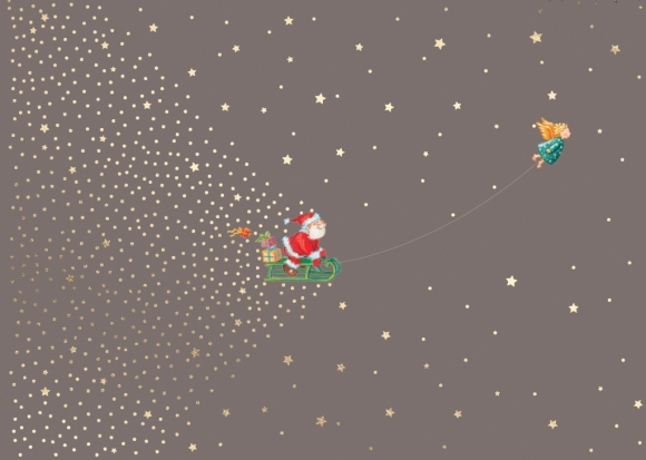 Doppelkarte: Weihnachtsmann auf einem Schlitten